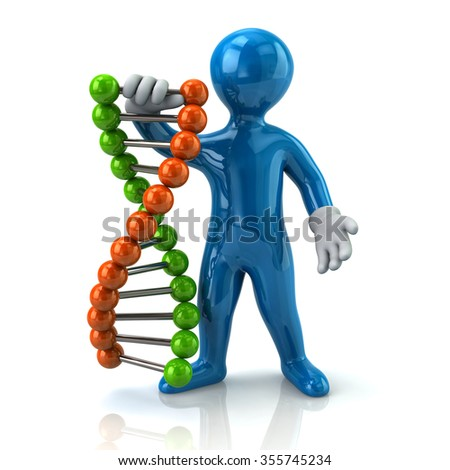 Illustration of blue man and DNA - stock photo