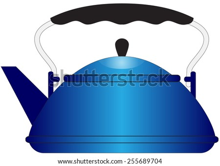 Illustration of blue metal teapot on a white background - stock photo