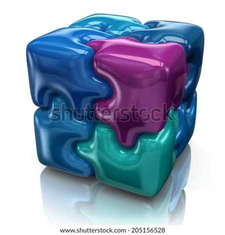 Illustration of blue puzzle cube - stock photo