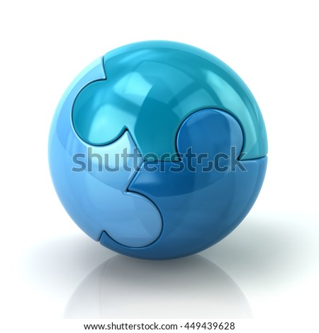 Illustration of blue puzzle sphere isolated on white background