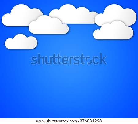 Illustration of blue sky with clouds. Light background.