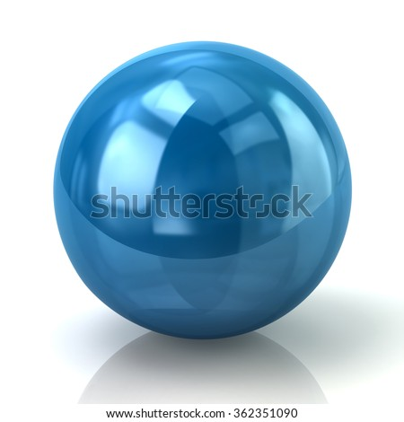 Illustration of blue sphere isolated on white background - stock photo