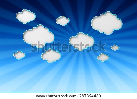 Illustration of blue summer sky background with fluffy clouds and sun rays