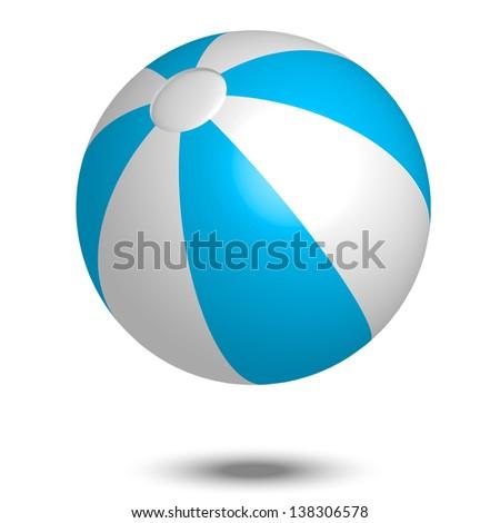Illustration of blue & white beach ball - stock photo