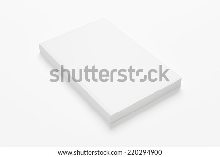 illustration of book or magazine mock up on white background with soft shadows - stock photo