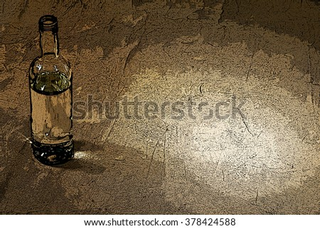 illustration of bottle of alcohol in the brown
