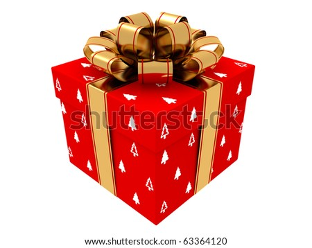 Illustration of box with christmas gift - stock photo