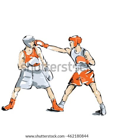 Illustration of boxers during a boxing match