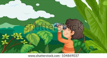 Illustration of boy in forest with binoculars -