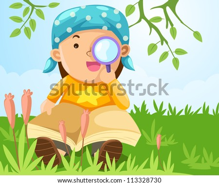 illustration of  boy looking through a magnifying glass - stock photo