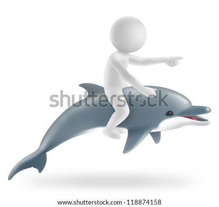 illustration of boy riding on a dolphin - stock photo