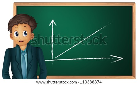 illustration of boy showing green board on white