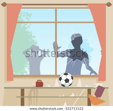 Illustration of boys breaking a window with a football