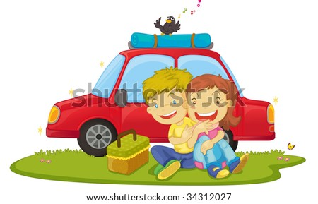 illustration of boys sitting near car - vector EPS of this image also available in my portfolio