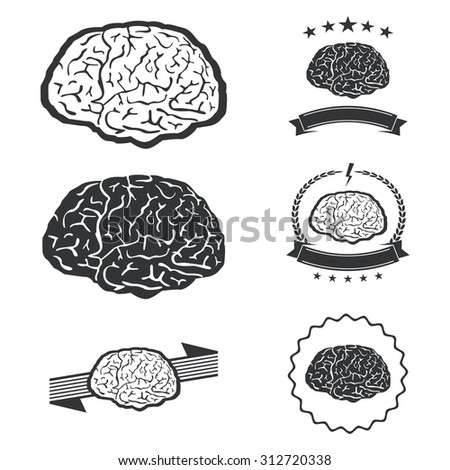 illustration of brain designs  These are iconic representations of creativity, ideas, inspiration, intelligence, thoughts, strategy, memory, innovation, education - stock photo