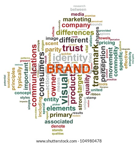 Illustration of brand word tags worcloud - stock photo