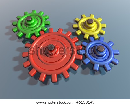 Illustration of brightly colored interlocking cogs on a shiny surface - stock photo