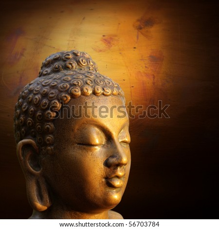 illustration of Buddha golden sculpture on lightened gold background - stock photo