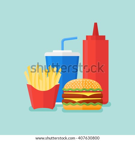 Illustration of burger, french fries, soda takeaway and ketchup. Fast food. Flat style.