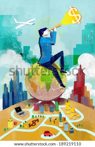 Illustration of business and global markets - stock photo