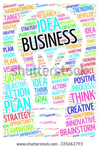 Illustration of business concept in modern art word cloud