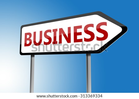 Illustration of business directions sign on a blue sky