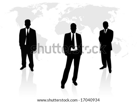 Illustration of business men with globe map on background