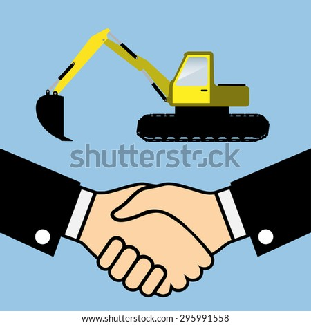 Illustration of Business Partners Handshake on the background of the Excavator. - stock photo