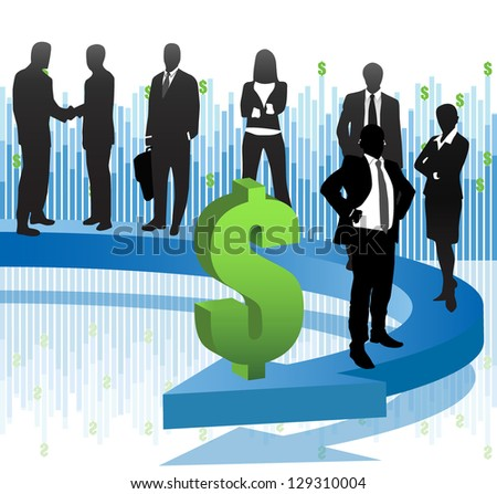 Illustration of business people and arrow. - stock photo