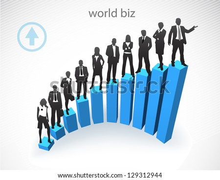 Illustration of business people and graph. - stock photo