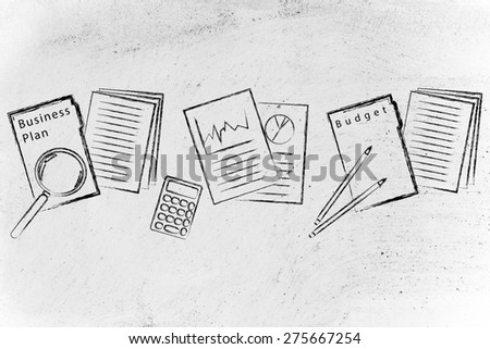 illustration of business plan folder, perfomance stats and budget documents - stock photo