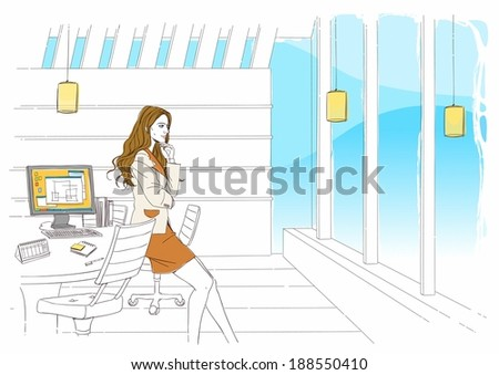 Illustration of business woman working from office
