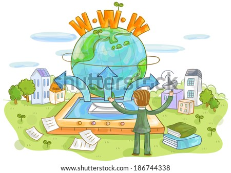 Illustration of businessman and globe