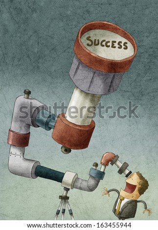 illustration of businessman looking for success - stock photo