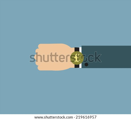 Illustration of Businessman wearing over sized watch with currency sign - British Pound