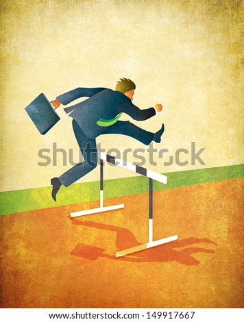 Illustration of businessman with briefcase jumping over hurdles on running track. Textured art with lots of room for copy or cropping. 18x23 inches at 300dpi.