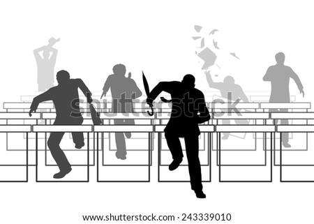 Illustration of businessmen racing over hurdle obstacles - stock photo
