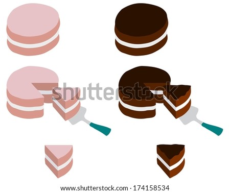 Illustration of cakes whole, taking a slice and isolated single slices - stock photo