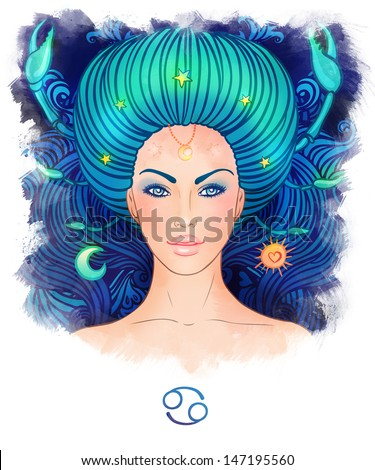 Illustration of cancer zodiac sign as a beautiful girl. Watercolor illustration.  - stock photo
