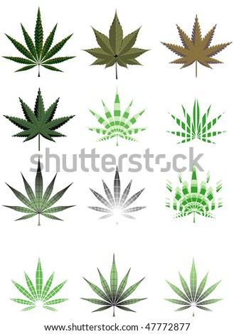 Illustration of cannabis leaf in different styles - stock photo
