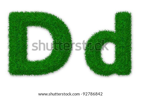 Illustration of capital and lowercase letter D made of grass