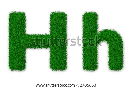 Illustration of capital and lowercase letter H made of grass - stock photo