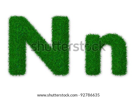 Illustration of capital and lowercase letter N made of grass - stock photo