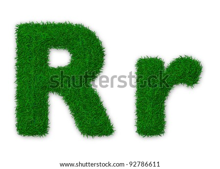Illustration of capital and lowercase letter R made of grass - stock photo