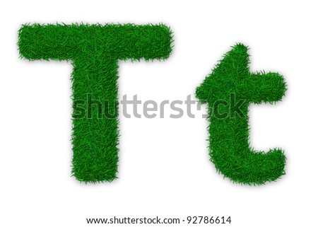 Illustration of capital and lowercase letter T made of grass - stock photo