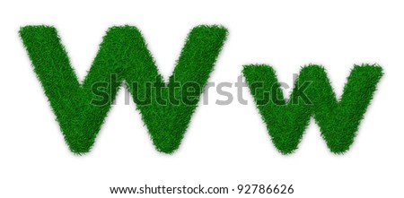 Illustration of capital and lowercase letter W made of grass
