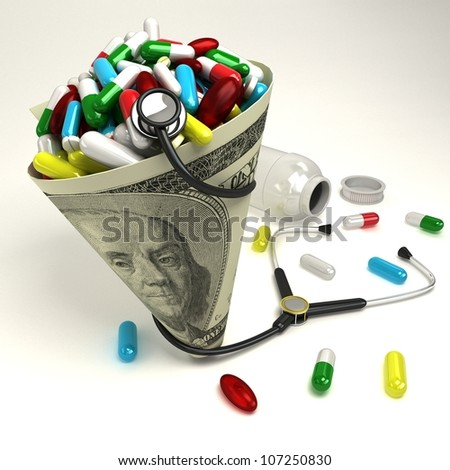 illustration of capsule in dollar cone with stethoscope - stock photo