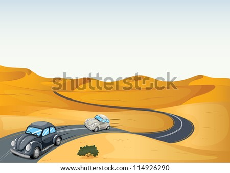 illustration of cars in a desert - stock photo