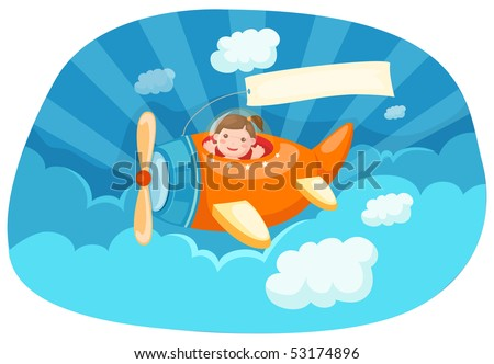 illustration of cartoon airplane with blank banner - stock photo