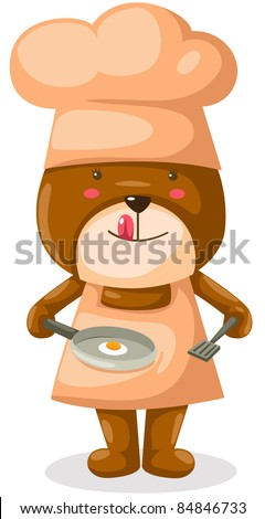 illustration of cartoon bear cooking on white background - stock photo